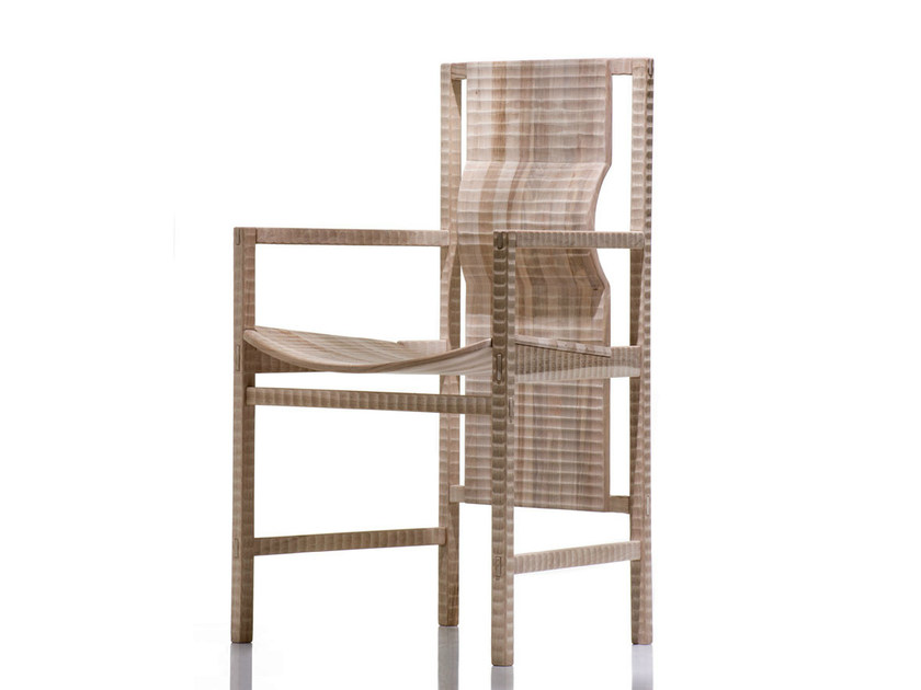 Walnut chair with armrests PISANA | Chair with armrests - HABITO by Giuseppe Rivadossi