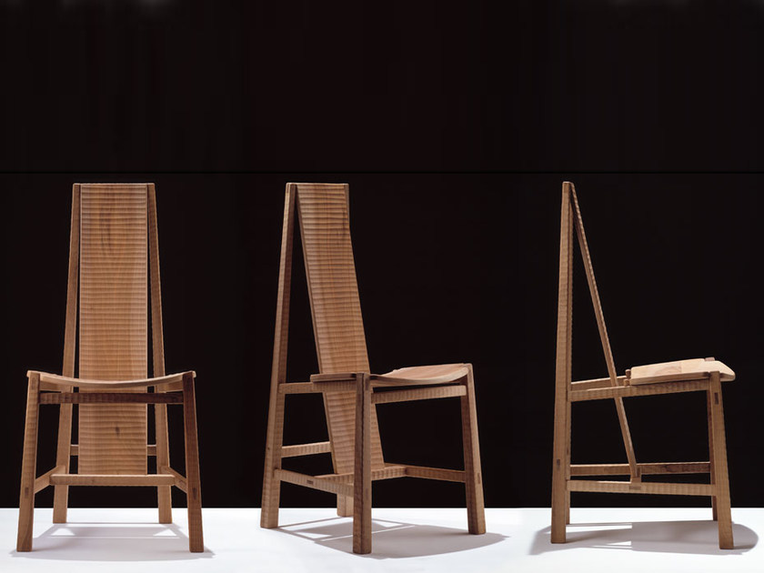 High-back maple chair VELA - HABITO by Giuseppe Rivadossi