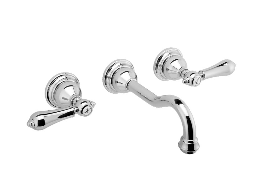 3 hole wall-mounted chrome-plated washbasin tap NANTUCKET | Washbasin tap - Graff Europe West