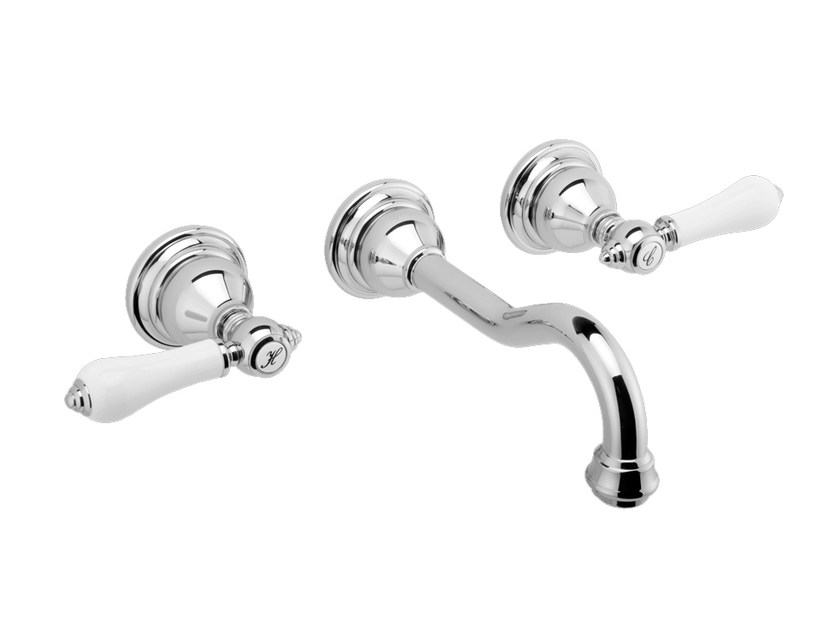 3 hole wall-mounted chrome-plated washbasin tap NANTUCKET | Wall-mounted washbasin tap - Graff Europe West