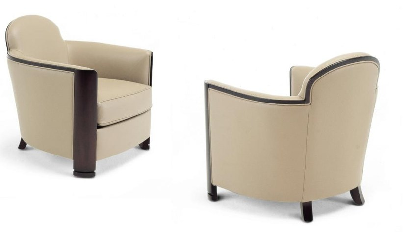 Upholstered leather armchair with armrests LOBBY | Armchair - HUGUES CHEVALIER