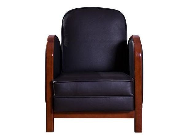 Upholstered leather armchair with armrests BALILA | Armchair - HUGUES CHEVALIER