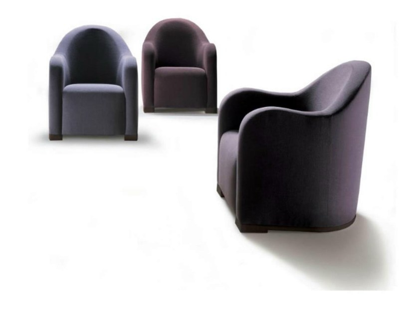 Upholstered tanned leather armchair with armrests WAVE | Armchair - HUGUES CHEVALIER