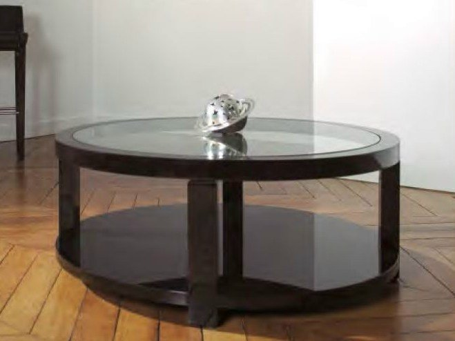 Round coffee table with integrated magazine rack for living room AGORA   Glass coffee table - HUGUES CHEVALIER