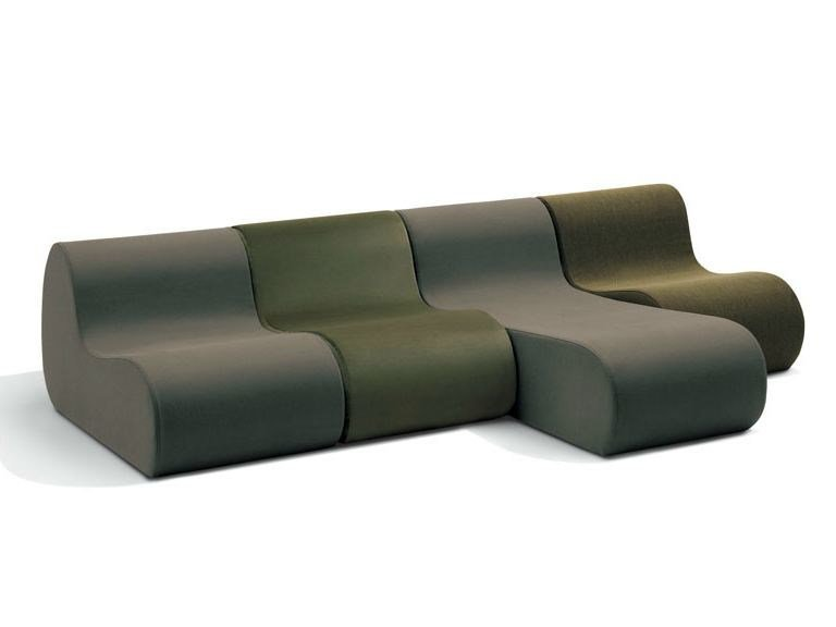 Modular fabric sofa with chaise longue VIRGOLA | Sectional sofa - MissoniHome