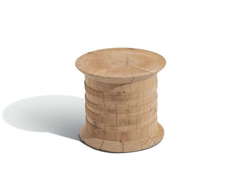 Low round cedarwood coffee table SPOOL CEDAR - MissoniHome