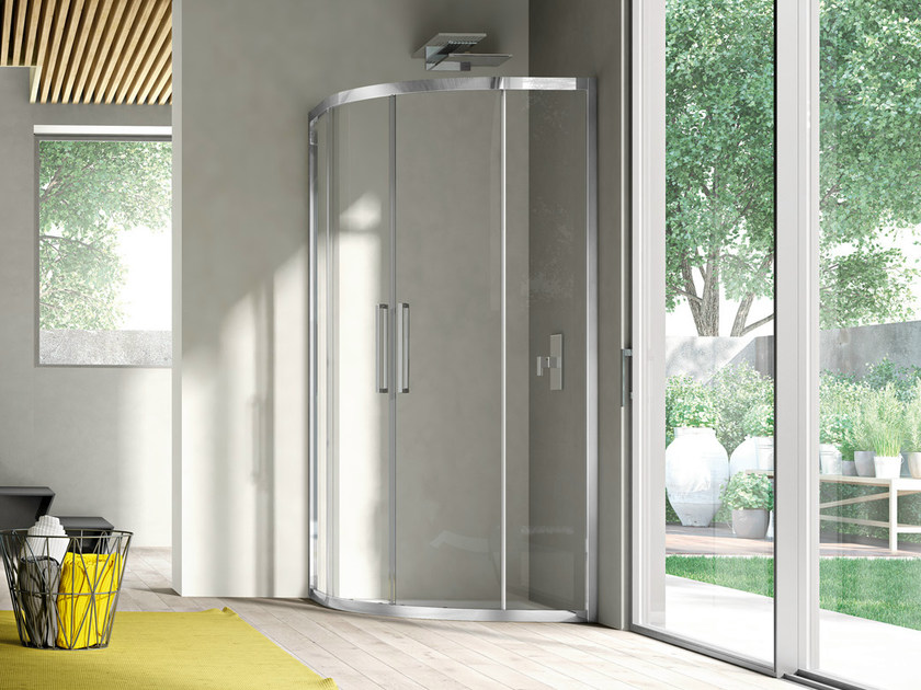 Corner semicircular shower cabin with sliding door LIKE 14 - IdeaGroup