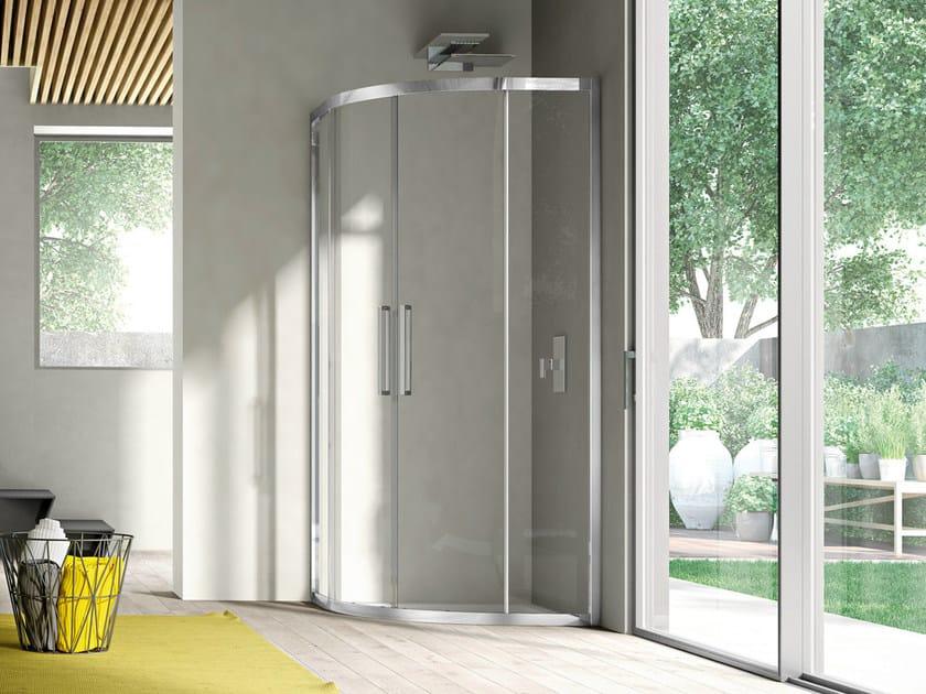 Corner semicircular shower cabin with sliding door LIKE 14 - IdeaGroup