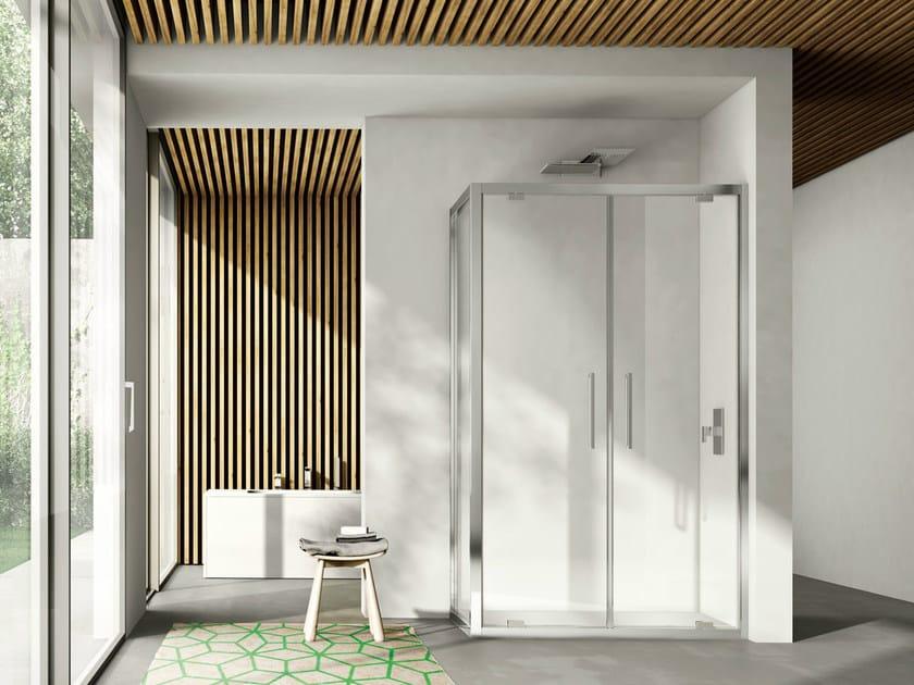 Corner shower cabin with pivot door LIKE 08 - IdeaGroup