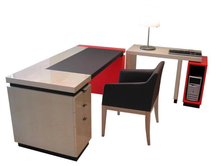 Lacquered PC wooden writing desk with drawers STANFORD | Writing desk - HUGUES CHEVALIER