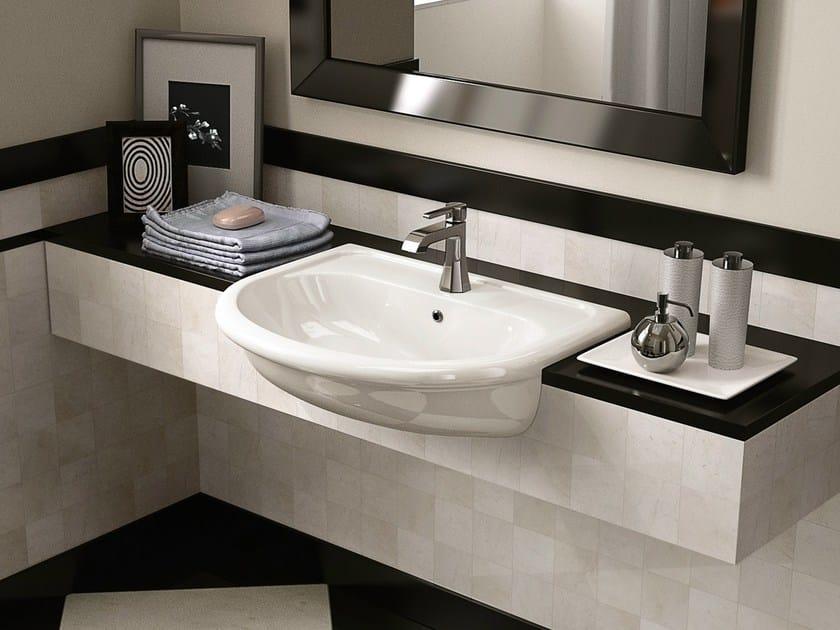 Semi-inset ceramic washbasin FIDIA | Semi-inset washbasin by CERAMICA FLAMINIA
