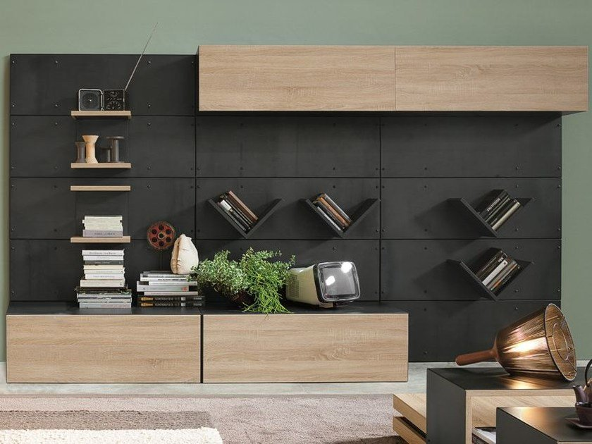 Sectional wall-mounted storage wall IRON R01 by Ronda Design