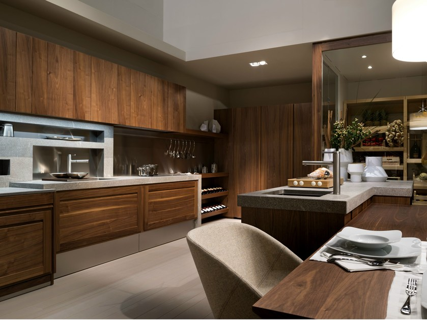 Walnut fitted kitchen CANALETTO by L'Ottocento