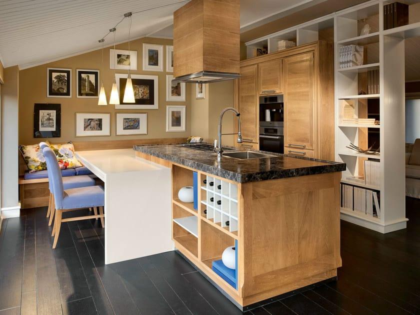 Cucina in noce con isola evita cucina con isola l 39 ottocento - L ottocento mobili ...