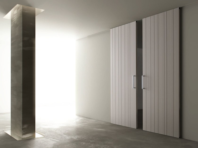 Wooden sliding door STRIP - Ghizzi & Benatti