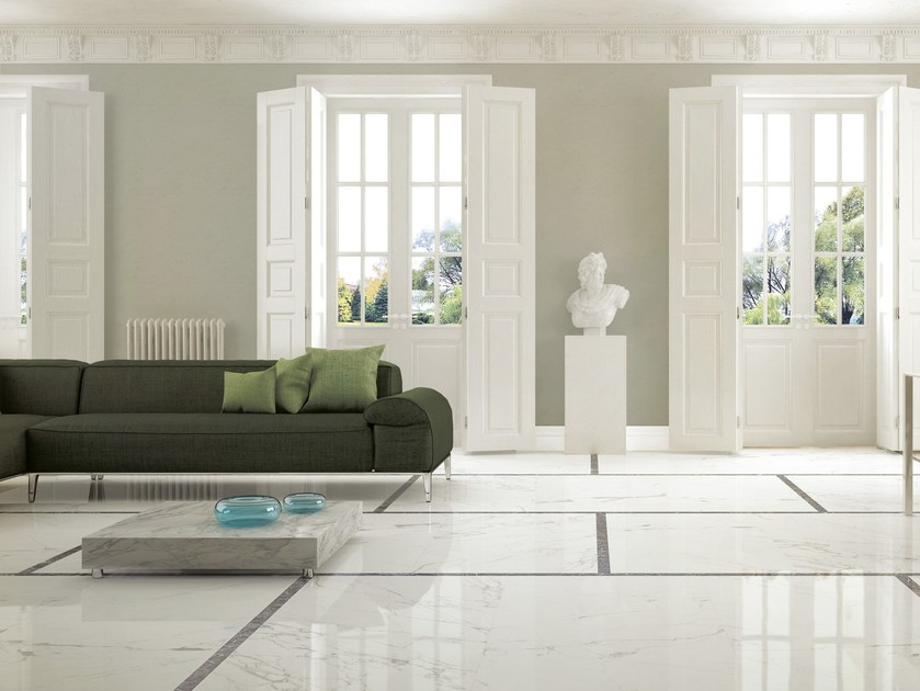 Porcelain stoneware wall/floor tiles with marble effect ANIMA STATUARIO VENATO - Ceramiche Caesar