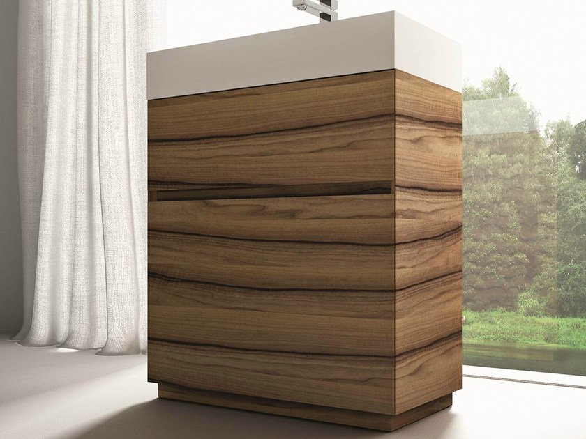 Single walnut vanity unit CUBIK | Walnut vanity unit - IdeaGroup