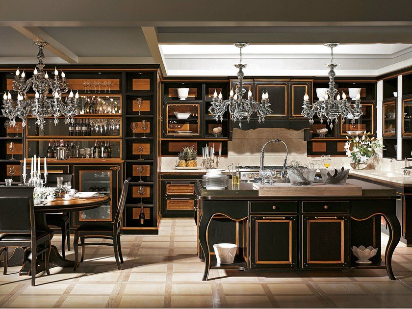 A grand kitchen, where every element, studied in meticulous detail, is proof of a passion for elegant and scrupulous conviviality.