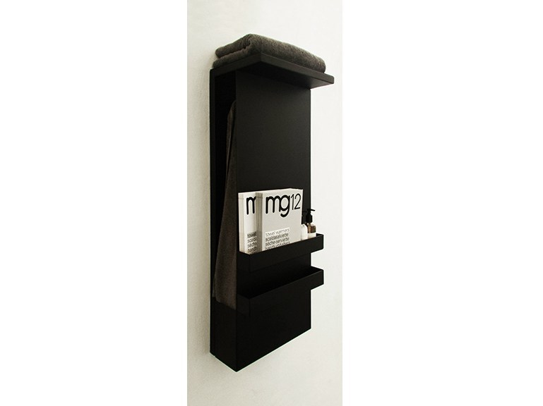 Wall-mounted electric aluminium towel warmer SHELF BLACK - mg12