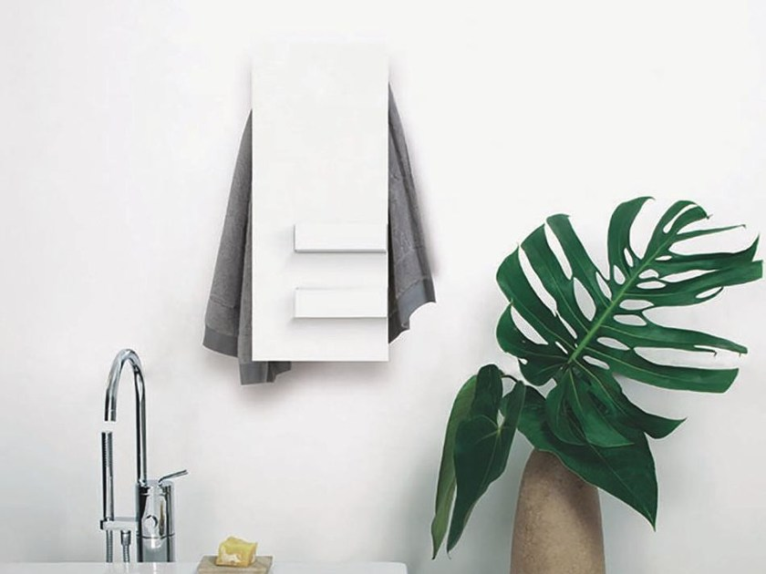 Electric wall-mounted aluminium towel warmer SLIM & SHELVES by mg12