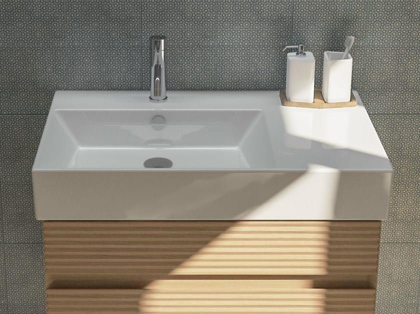 Rectangular ceramic washbasin with integrated countertop PREMIUM 80 | Washbasin with integrated countertop - CERAMICA CATALANO