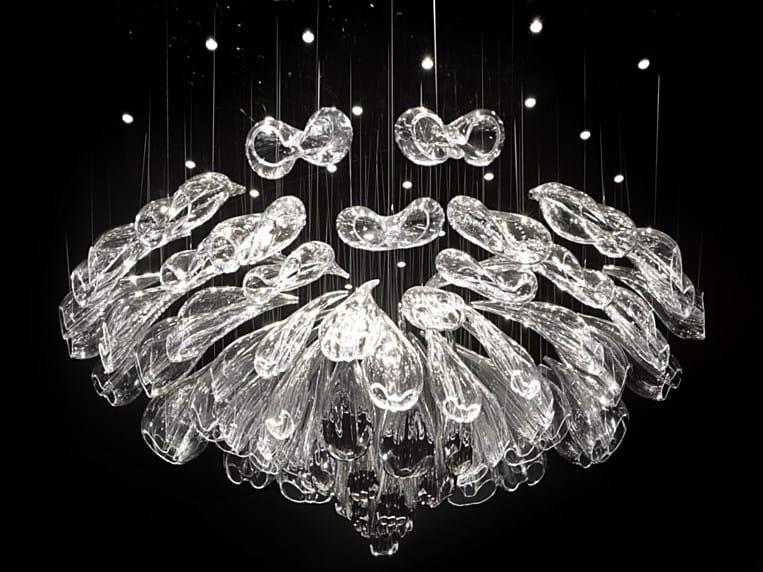 LED handmade blown glass chandelier ALICE by Lasvit