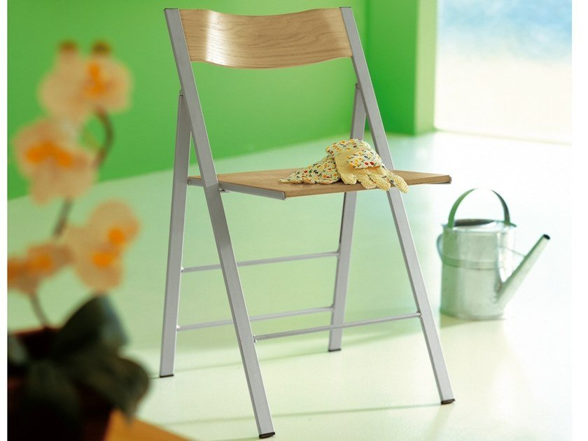 Folding chair with varnished or chromed steel frame POCKET WOOD - AREA DECLIC