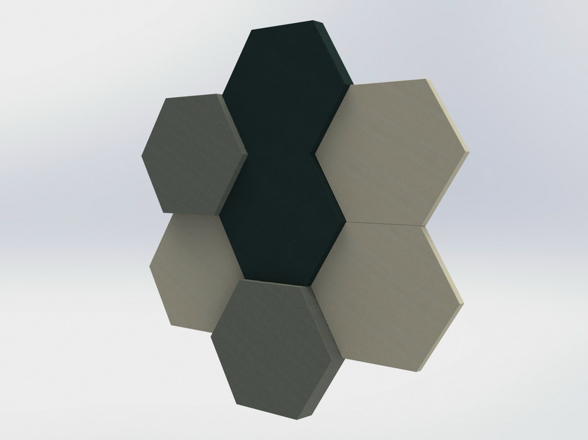 Fabric decorative acoustical panels BUZZIBLOX HEXA - BuzziSpace