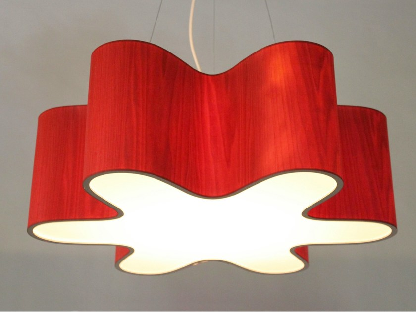 LED wood veneer pendant lamp LOTUS - Lampa