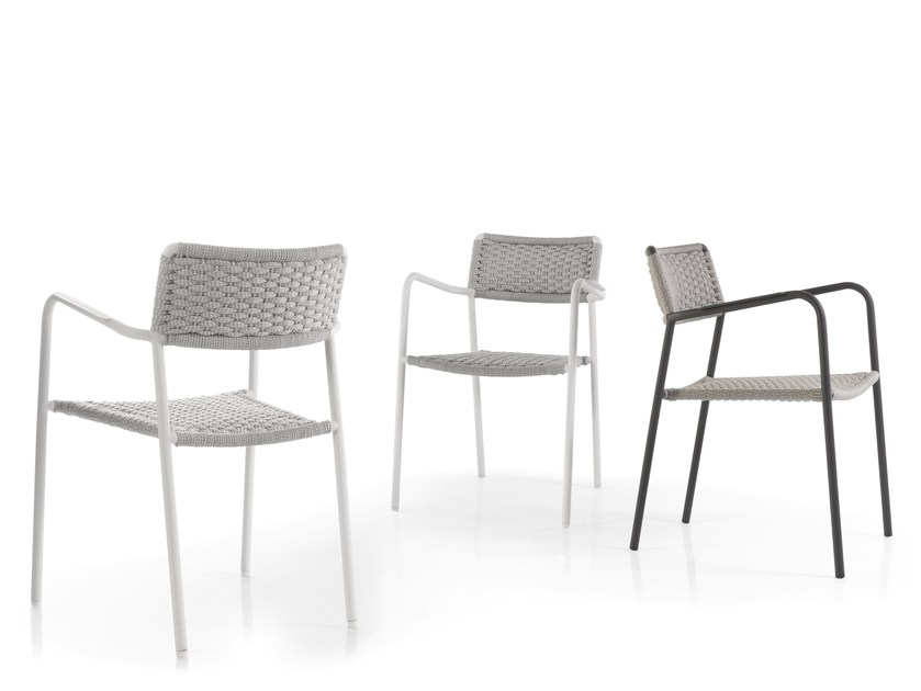Stackable garden chair with armrests ECHO | Chair - MANUTTI