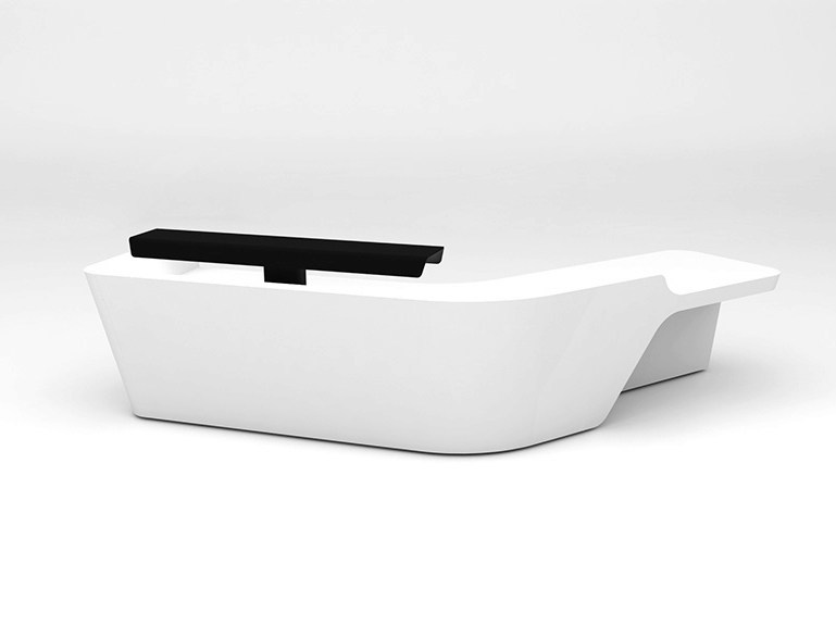 Modular Solid Surface® reception desk MONO | Configuration 8 - Isomi