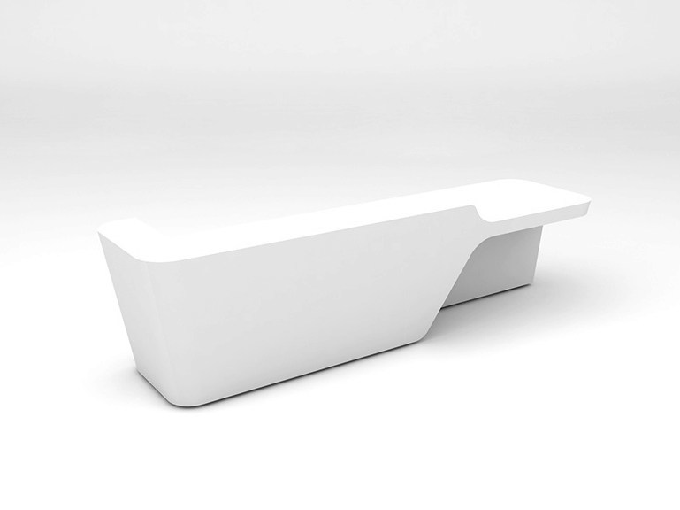 Modular Solid Surface® Office reception desk MONO | Configuration 2 by Isomi