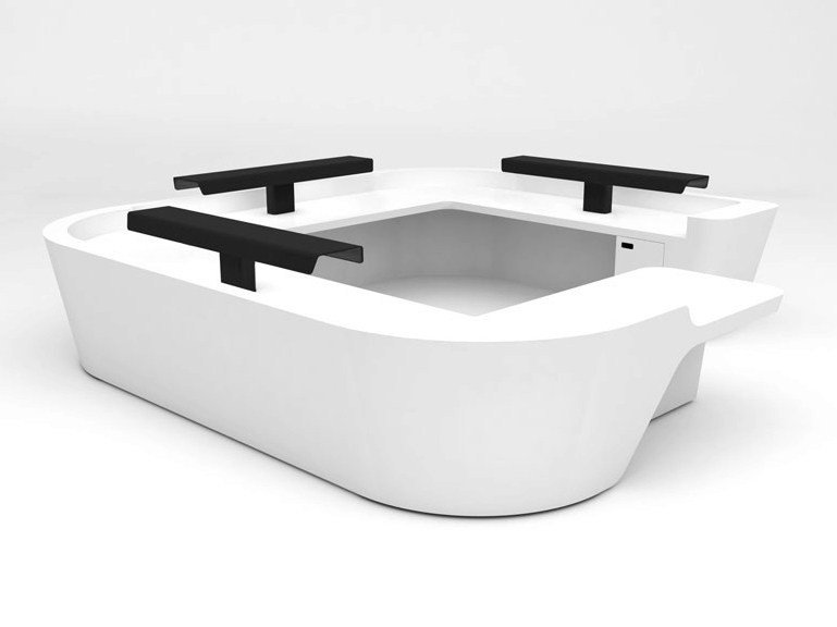 Modular Solid Surface® Office reception desk MONO CONFIGURATION 11 by Isomi