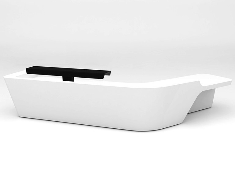 Modular Solid Surface® Office reception desk MONO | Configuration 9 by Isomi