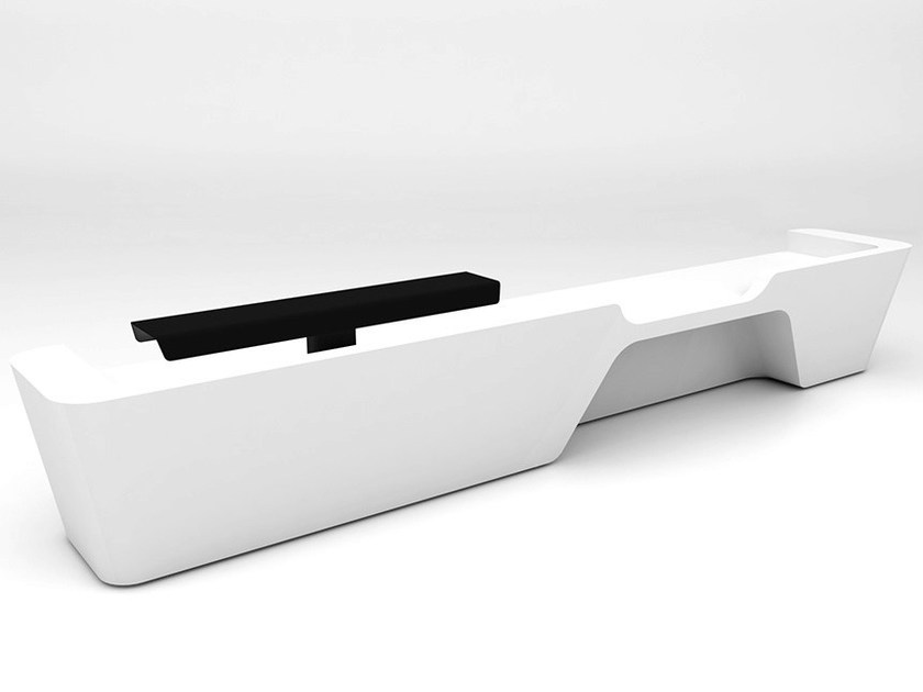 Modular Solid Surface® reception desk MONO | Configuration 6 - Isomi