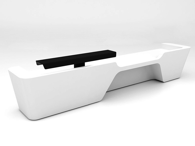 Modular Solid Surface® reception desk MONO | Configuration 4 - Isomi