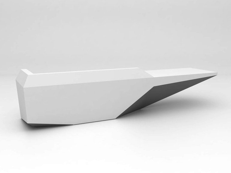 Modular Solid Surface® reception desk FOLD | Configuration 5 - Isomi
