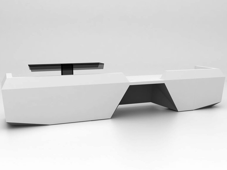Modular Solid Surface® reception desk FOLD   Configuration 4 - Isomi