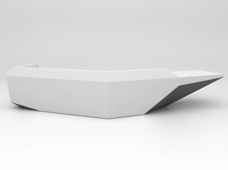Modular Solid Surface® reception desk FOLD | Configuration 7 - Isomi