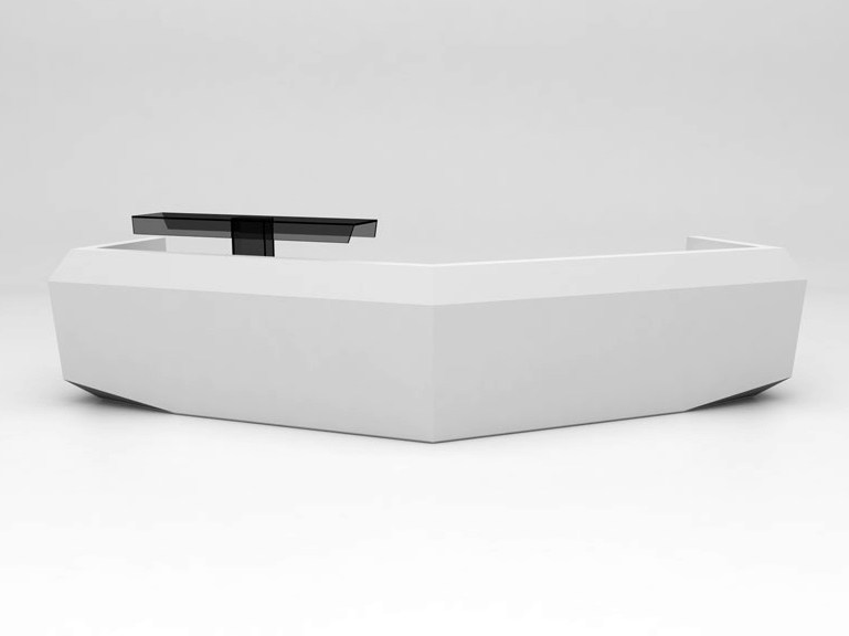 Modular Solid Surface® reception desk FOLD | Configuration 6 - Isomi