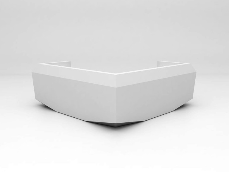 Modular Solid Surface® reception desk FOLD | Configuration 8 - Isomi