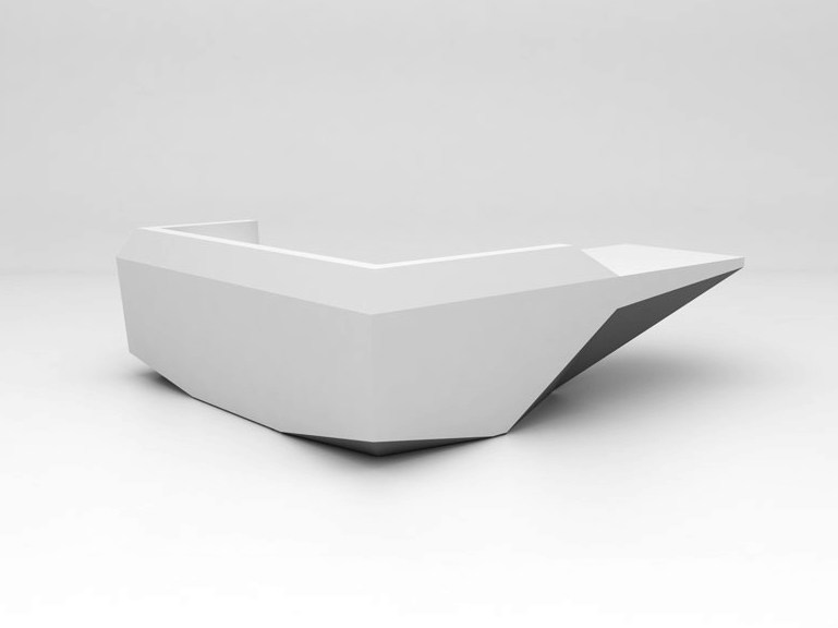 Modular Solid Surface® Office reception desk FOLD | Configuration 9 by Isomi