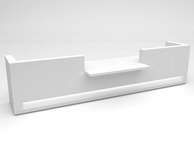 Modular Solid Surface® Office reception desk BLOK | Configuration 6 by Isomi