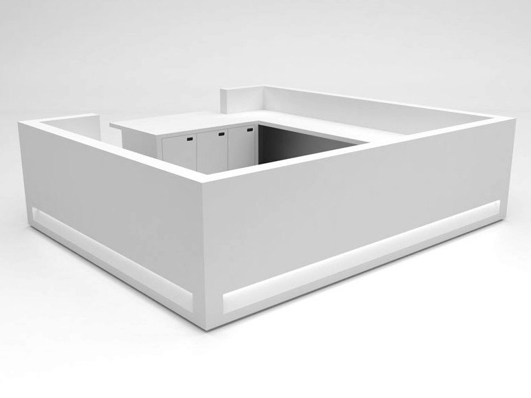 Modular Solid Surface® reception desk BLOK | Configuration 10 - Isomi