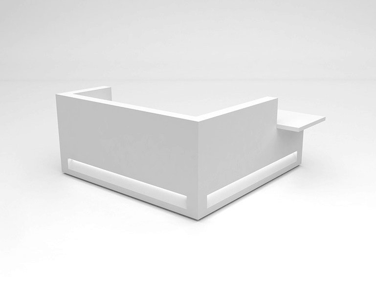 Modular Solid Surface® Office reception desk BLOK | Configuration 9 by Isomi