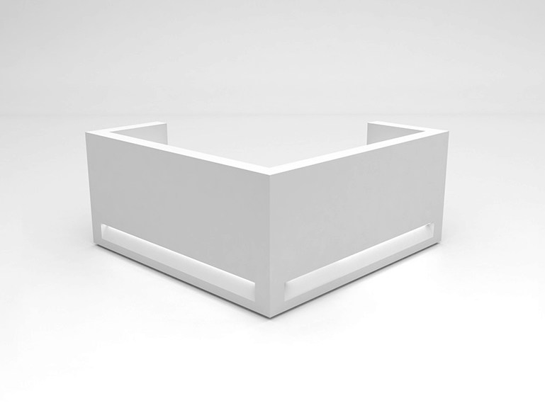 Modular Solid Surface® reception desk BLOK | Configuration 8 - Isomi