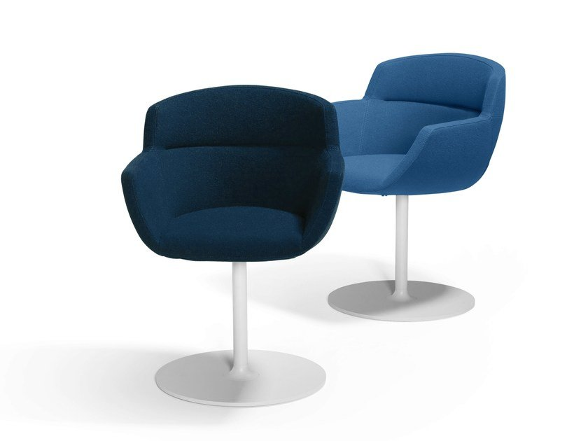 Upholstered fabric easy chair with armrests MOOD DISC by Artifort