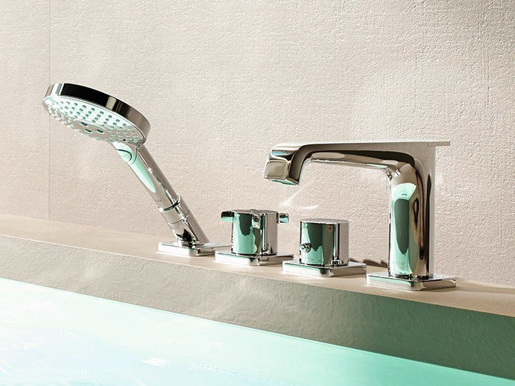 Thermostatic bathtub set with hand shower AXOR CITTERIO E | Bathtub set by hansgrohe