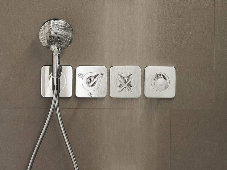 axor citterio e thermostatic shower mixer with hand shower by hansgrohe design antonio citterio. Black Bedroom Furniture Sets. Home Design Ideas