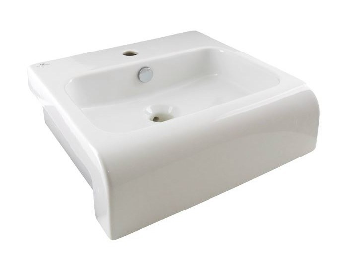 Semi-inset rectangular washbasin with overflow NEOX | Washbasin with overflow - NOKEN DESIGN